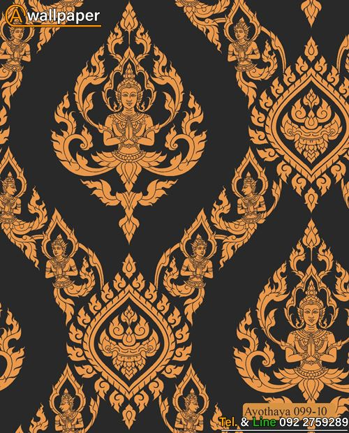 วอลเปเปอร์ ลายไทยลายเทพพนมสีทองพื้นสีดำ
