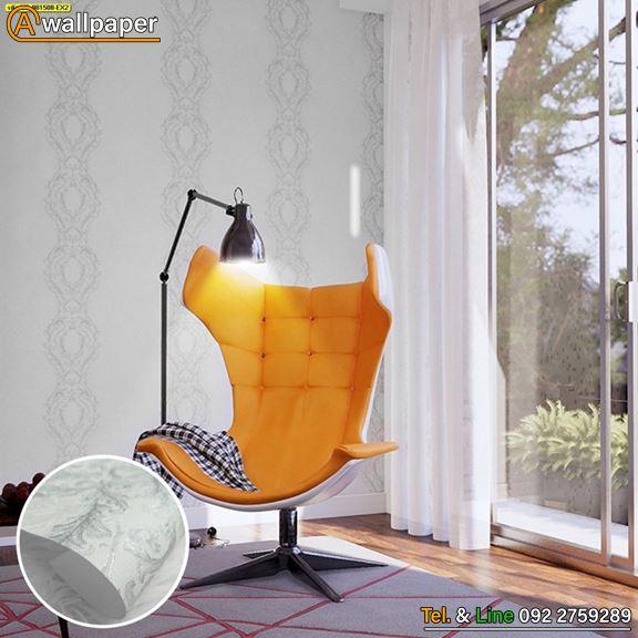 วอลเปเปอร์ติดผนังลายหลุยส์สีขาว-เงิน_My Style_YS-981508