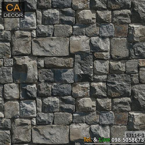 วอลเปเปอร์ลายหินก้อนสีเหลี่ยมสีเทาดำ